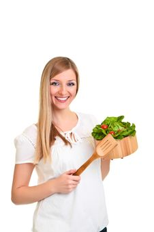 Free Woman With Salad Royalty Free Stock Photography - 18519417