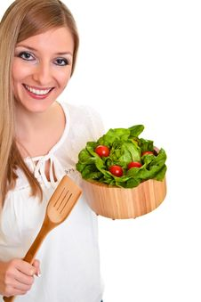 Free Woman With Salad Stock Image - 18519421