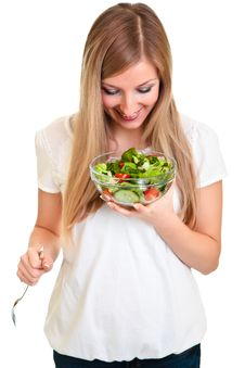Free Woman With Salad Stock Images - 18519444