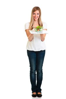 Free Woman With Salad And Scales Royalty Free Stock Photos - 18519488
