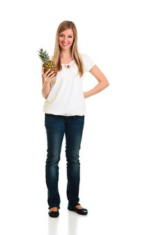 Free Blond Caucasiam Woman Holding Fruit Royalty Free Stock Image - 18519526