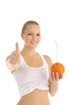 Free Happy Woman Holding Orange With Straw Royalty Free Stock Image - 18519846
