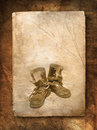 Free Old Black Top Boot On Paper Royalty Free Stock Image - 18527536