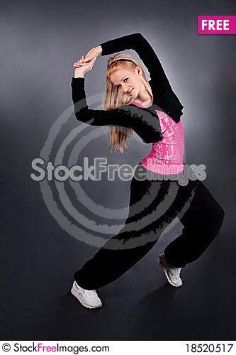Modern style dancer posing over grey Stock Photo