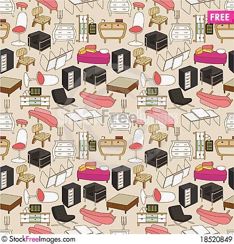 Seamless furniture pattern Stock Photo