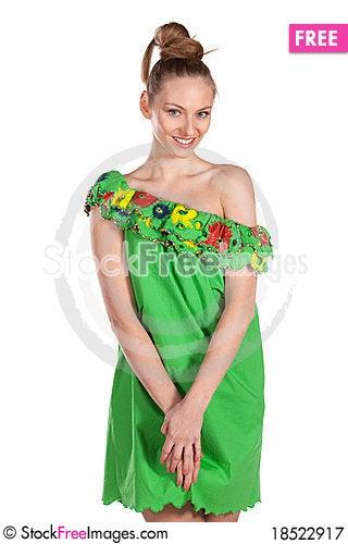 Young joyful female in summer dress Stock Photo