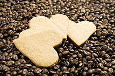Free Heart Shaped Cookies And Coffee Stock Photo - 18520020