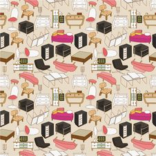 Seamless Furniture Pattern Royalty Free Stock Images