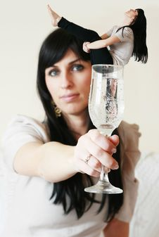 Free Woman Holding A Glass In Her Hand Stock Photos - 18521033