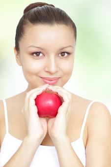 Girl Holding A Red Apple Stock Photography