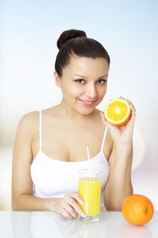 Free Girl With Orange Juice Stock Photography - 18521232