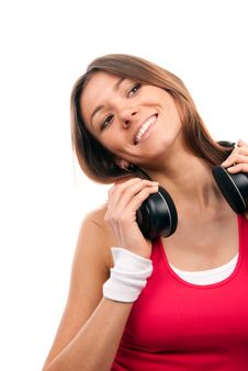 Free Brunette Woman Listening And Enjoying Music Royalty Free Stock Image - 18521536