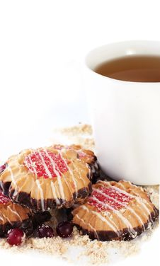 Free Butter Biscuits And Cup Of Tea Stock Photos - 18521703