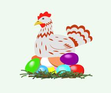 Free Chicken With Easter Eggs. Royalty Free Stock Photos - 18522228