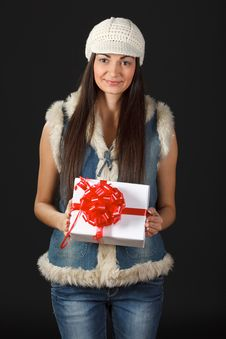 Free Portrait Of Young Female With Gift Box Stock Photo - 18522250