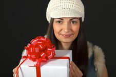 Free Portrait Of Young Female With Gift Box Royalty Free Stock Images - 18522269