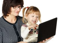 Laptop For Every Generation Stock Image
