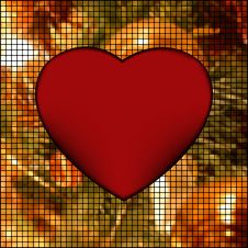 Mosaic Valentine Card With Heart. EPS 8 Stock Image