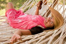 Free Young Woman In Hammock Royalty Free Stock Image - 18524356