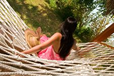 Free Young Woman In Hammock Stock Photography - 18524392