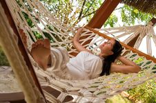 Free Young Woman In Hammock Royalty Free Stock Photos - 18524398