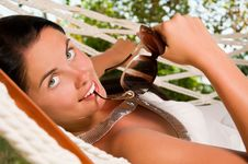 Free Young Woman In Hammock Stock Photography - 18524412