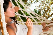 Free Young Woman In Hammock Stock Photo - 18524420