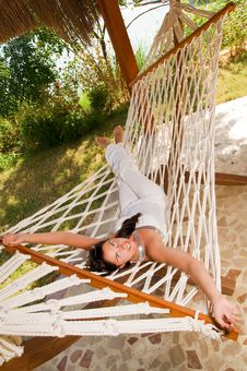Free Young Woman In Hammock Stock Photo - 18524430