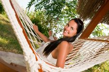 Free Young Woman In Hammock Stock Photography - 18524432