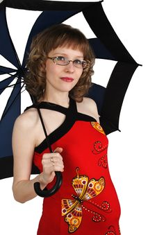 A Pregnant Woman With An Umbrella Royalty Free Stock Photography