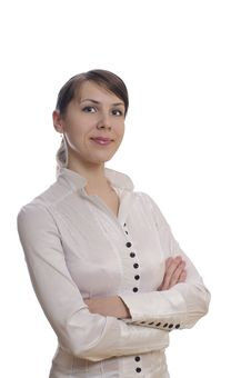 Business Woman With Crossed Hands Stock Photo