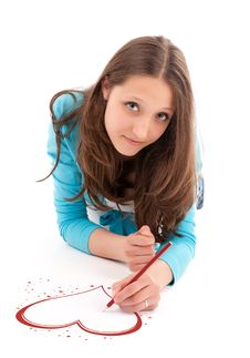 Young Woman Drawing Heart Stock Photography
