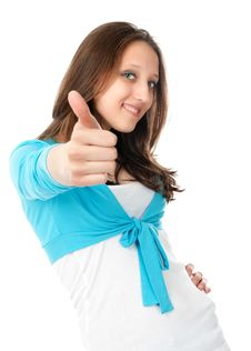 Free Young Woman Showing Thumbs Up Royalty Free Stock Photography - 18526507