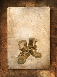 Old Black Top Boot On Paper Royalty Free Stock Image