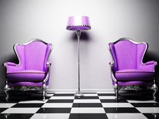 Free Two Violet Classic Elegant Armchairs And A Royalty Free Stock Images - 18528009