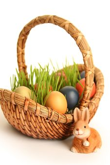 Free Basket With Eggs Royalty Free Stock Photos - 18529898