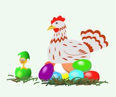 Free Hen And Chicken With Easter Eggs. Royalty Free Stock Photography - 18529917