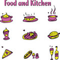 Free Food And Kitchen Emblems Icons Set Stock Image - 18530041