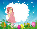 Free Easter Backgraund With Little Girl Royalty Free Stock Photo - 18534815