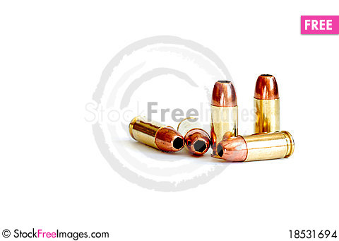 Free Bullets Isolated On White Stock Images - 18531694