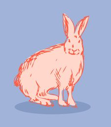 Rabbit Vector Fake Retro Tattoo Style Stock Photo