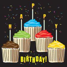 Free Birthday Cupcakes Royalty Free Stock Photos - 18532068