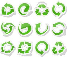 Free Arrow Green Stickers. Royalty Free Stock Images - 18533649
