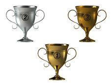 Silver Gold And Bronze Cups Stock Photo
