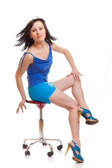 Free Woman Sitting On Chair Royalty Free Stock Photography - 18534707