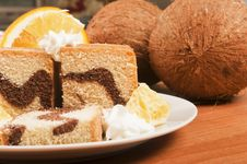 Free Cake With Orange And Coconut Stock Photos - 18535133