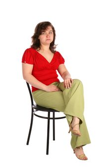 Free Chubby Girl Sits On Stool. Stock Photography - 18536202