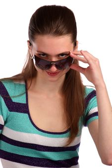 Free Girl In Stripy Blue Dress With Sunglasses. Stock Photography - 18536222