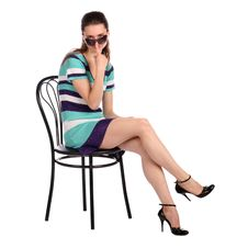 Free Girl With Sunglasses Posing On Stool. Stock Photography - 18536232