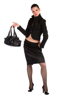 Free Girl In Black Suit Demonstrate Bag. Stock Photography - 18536832